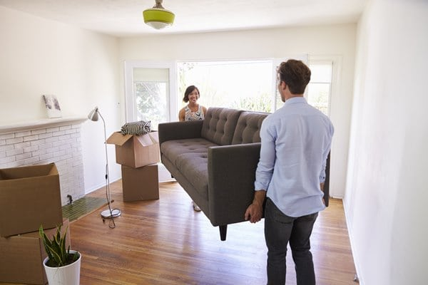 first time buyers moving in to new house